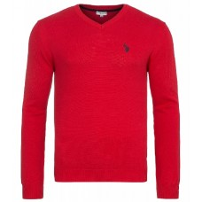 U.S. Polo ASSN. Pullover  mit V-Ausschnitt in Rot